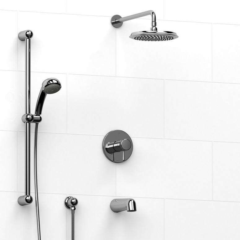 Riobel Manhattan Thermostatic Valve Sidebar Rain Showerhead Tub Filler In Chrome